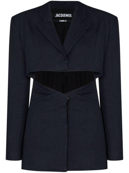 Льняной синий пиджак с вырезом Jacquemus