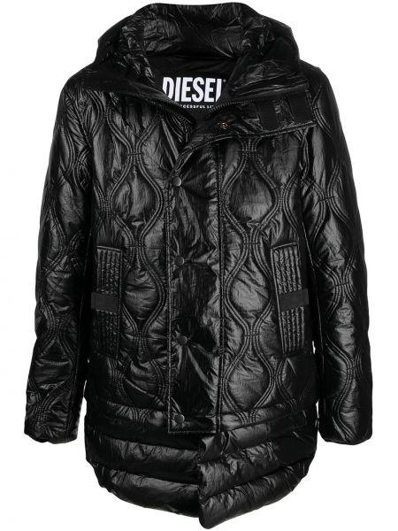 Klasyczna czarna długa kurtka pikowana Diesel