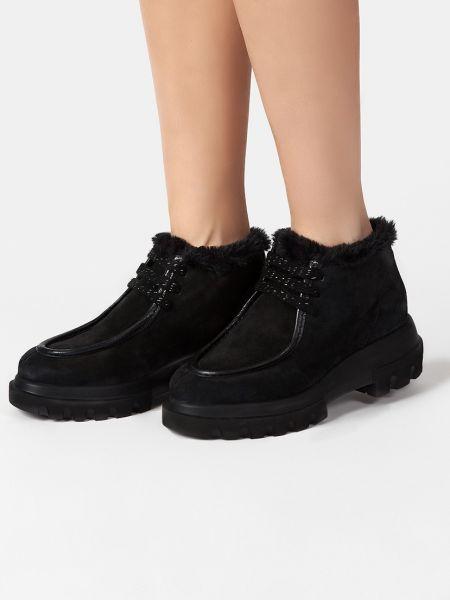 Кожаные полуботинки - черные Pertini