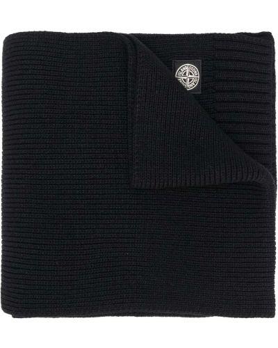 Czarny trykotowy szalik z wiskozy z łatami Stone Island Junior