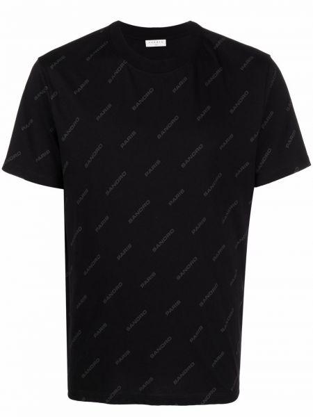 Czarna koszulka krótki rękaw Sandro Paris