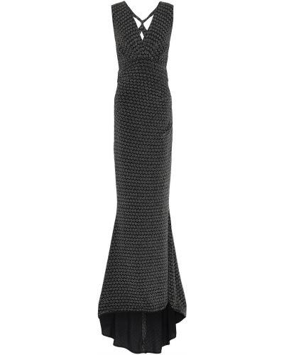 Открытое черное платье макси с подкладкой Talbot Runhof