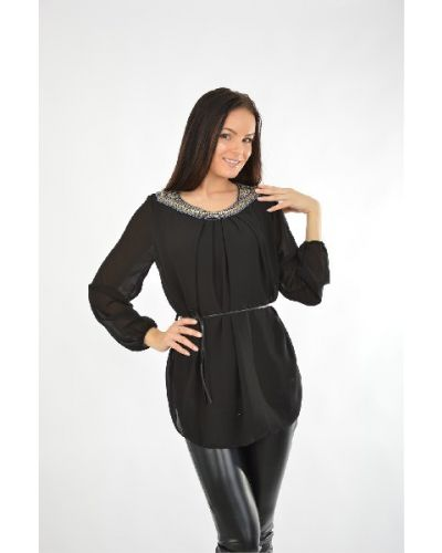 Шифоновая блузка - черная Aurora Firenze