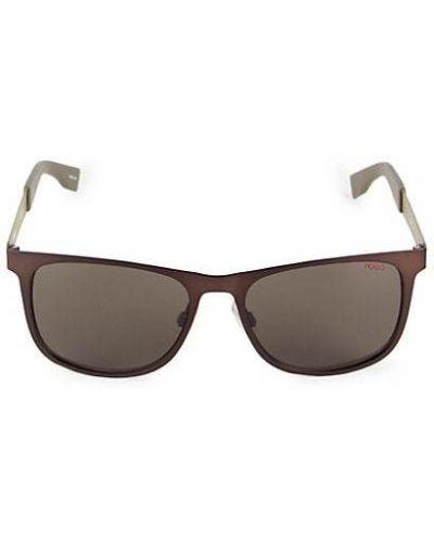 Czarne okulary w paski Hugo Hugo Boss