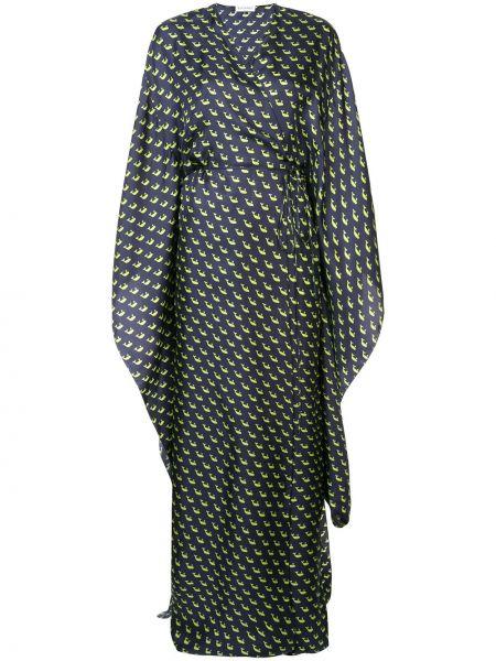 Шелковое синее платье макси с запахом Vionnet