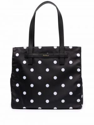Кожаная сумка шоппер в горошек на молнии Furla