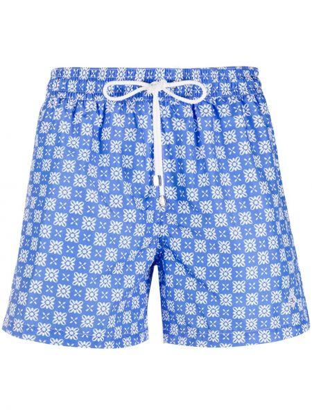 Свободные синие шорты с карманами свободного кроя Borrelli