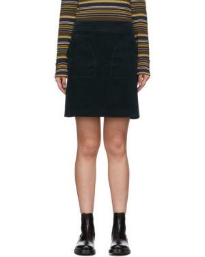 Srebro bawełna bawełna spódnica mini z kieszeniami A.p.c.