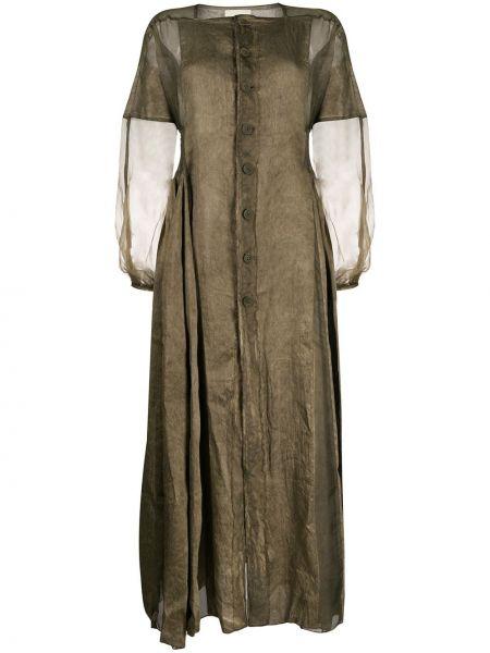Шелковое зеленое платье макси прозрачное Phaedo Studios