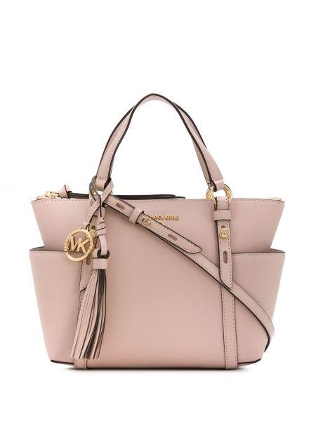 Мягкая розовая кожаная сумка-тоут Michael Michael Kors