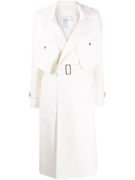 Шерстяной длинное пальто с карманами с лацканами Max Mara