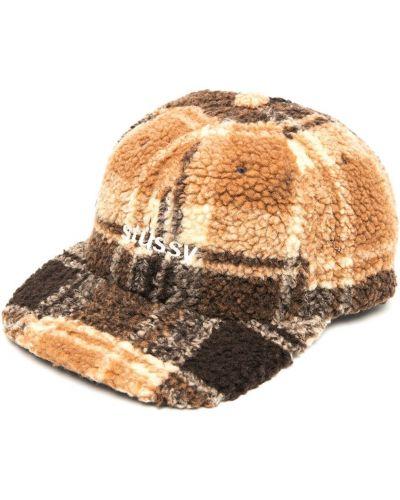 Runo z paskiem brązowy czapka z daszkiem z haftem Stussy
