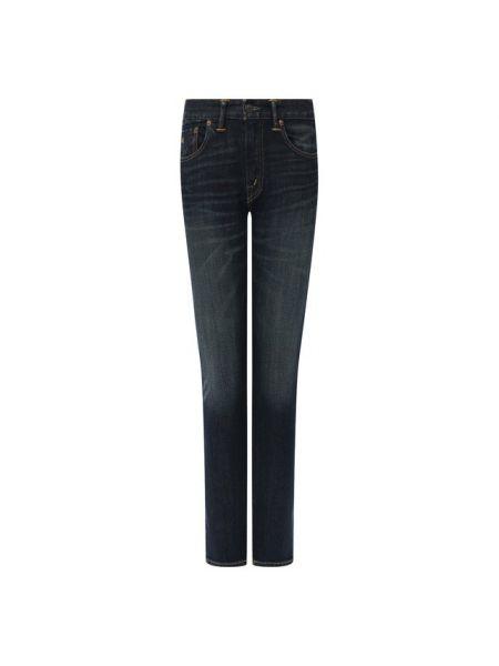 Укороченные джинсы синие с эффектом потертости Rrl
