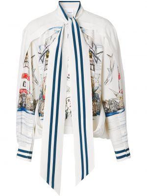 Шелковая белая блузка с длинными рукавами Burberry