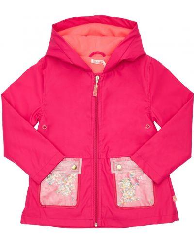 Różowy płaszcz przeciwdeszczowy z kapturem z łatami od płaszcza przeciwdeszczowego Billieblush