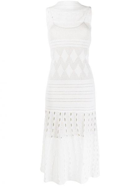 Шелковое расклешенное платье с перфорацией без рукавов Mrz