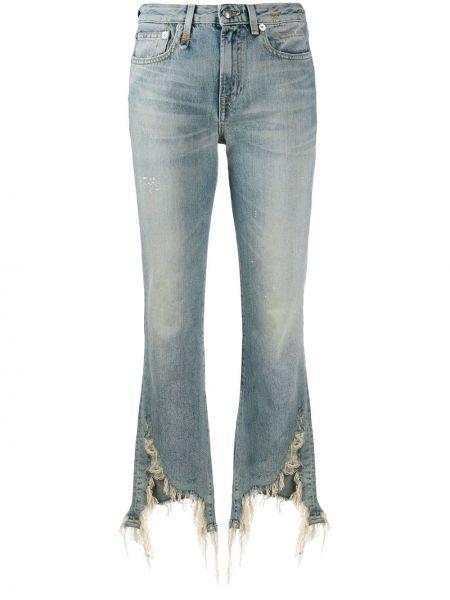 Расклешенные джинсы с бахромой на пуговицах R13