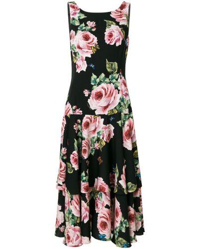 Платье миди солнце с заниженной талией с квадратным вырезом Dolce & Gabbana
