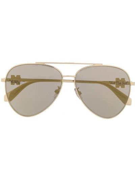 Złote okulary khaki Off-white