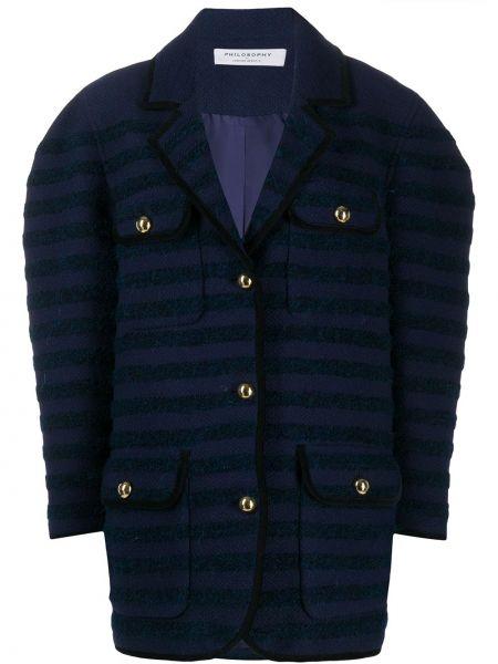 Синее длинное пальто с капюшоном твидовое Philosophy Di Lorenzo Serafini