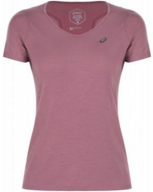Футбольная приталенная фиолетовая спортивная футболка для бега Asics