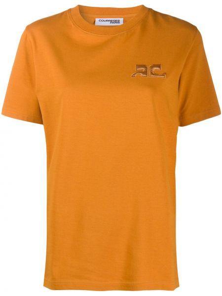 Хлопковая персиковая рубашка с коротким рукавом с вышивкой с короткими рукавами Courrèges