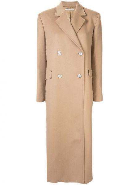 Brązowy płaszcz wełniany z długimi rękawami Alessandra Rich