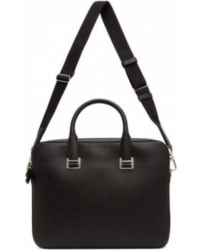 Черный кожаный портфель с карманами Dunhill