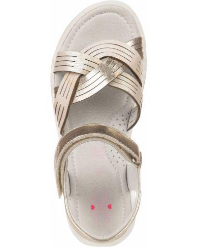 Брендовые кожаные сандалии золотые Mursu
