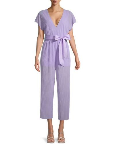 Фиолетовый шелковый комбинезон с шортами с подкладкой Alice + Olivia By Stacey Bendet