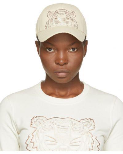 Brązowa czapka z haftem skórzana Kenzo