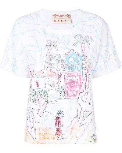 Белая свободная футболка Marni