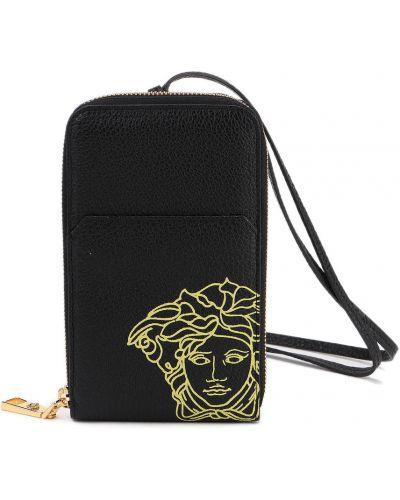 Ciepły czarny portfel Versace