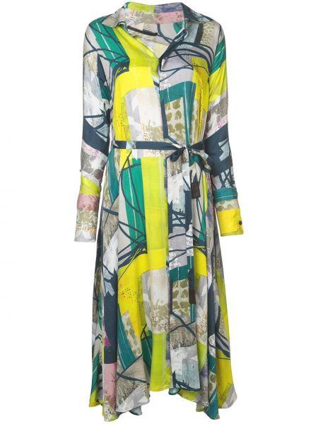 Классическое платье миди с воротником с рисунком из вискозы Divka