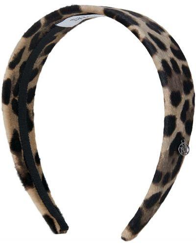Otwarty brązowy opaska na głowę z prawdziwej skóry z otwartym tyłem Maison Michel