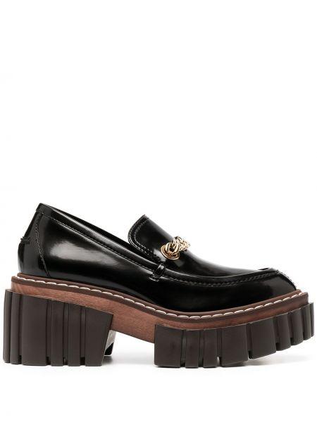 Skórzany czarny loafers na klinie Stella Mccartney