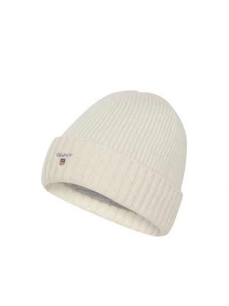 Prążkowana biała czapka wełniana Gant