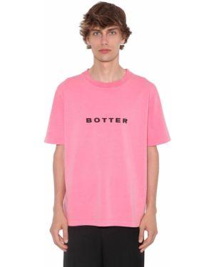 Różowy t-shirt bawełniany z printem Botter