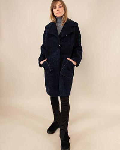 Пальто из овчины - синее каляев