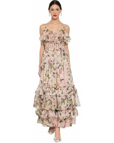 Розовое шелковое платье макси с декольте Dolce & Gabbana
