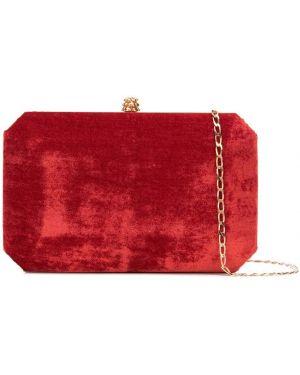 Золотистая красная шелковая сумка на цепочке с карманами Tyler Ellis