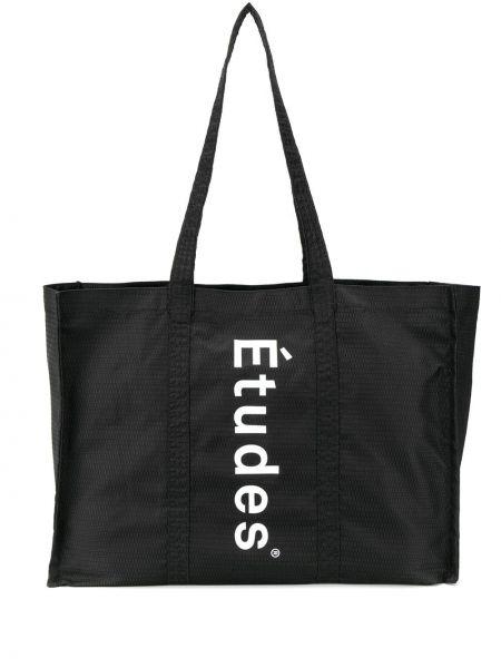 Czarna torba na ramię z nylonu z printem Etudes