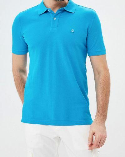 Голубое поло с коротким рукавом United Colors Of Benetton