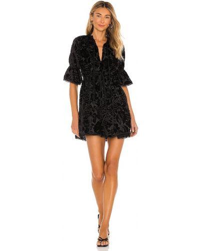 Повседневное бархатное черное платье мини Hemant And Nandita
