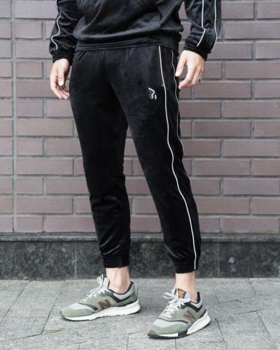 Велюровые черные укороченные спортивные брюки Overdrive