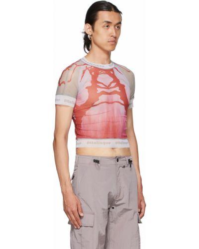 Różowa t-shirt z siateczką Ottolinger