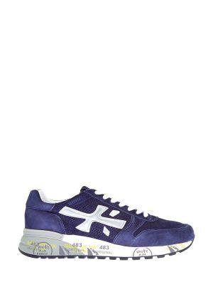 Синие кожаные кроссовки на шнуровке Premiata