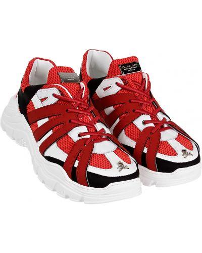 Текстильные красные кроссовки Philipp Plein