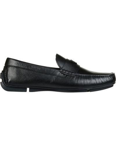 Кожаные мокасины - черные Emporio Armani