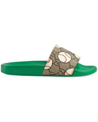 Зеленые парусиновые открытые шлепанцы с открытым носком Gucci Kids